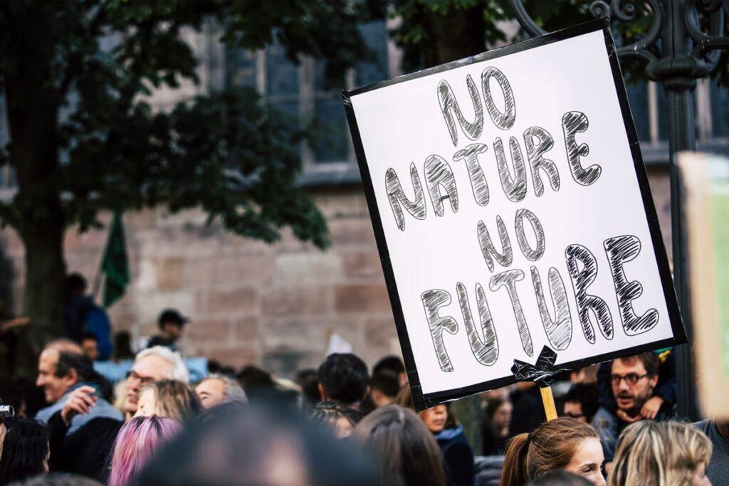 Big street gathering about saving mother nature