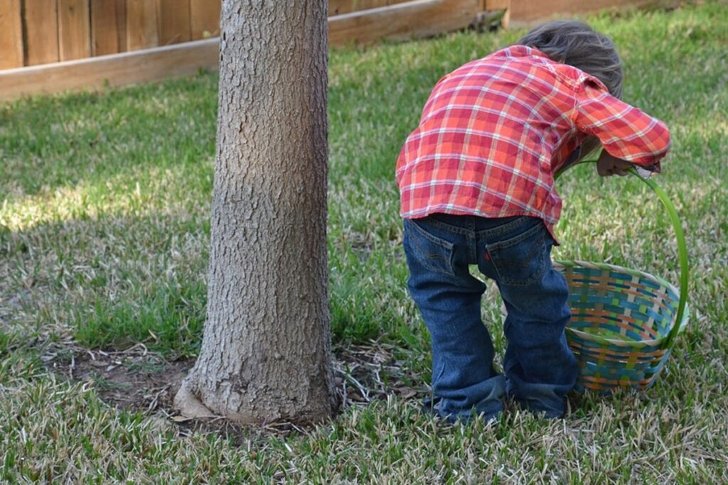 Kid hunting egg with his basket