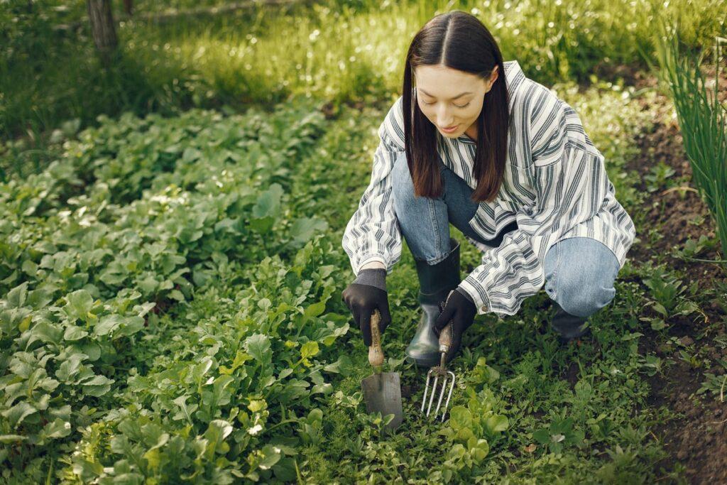 Woman doing hand gardening