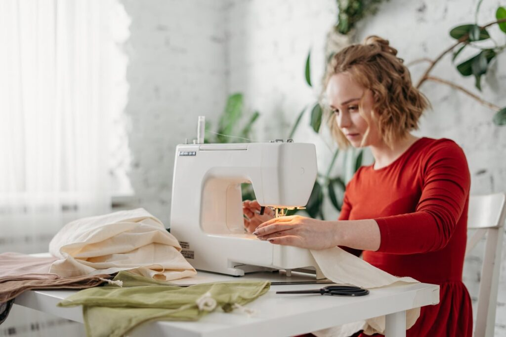 Woman making sustainable bag