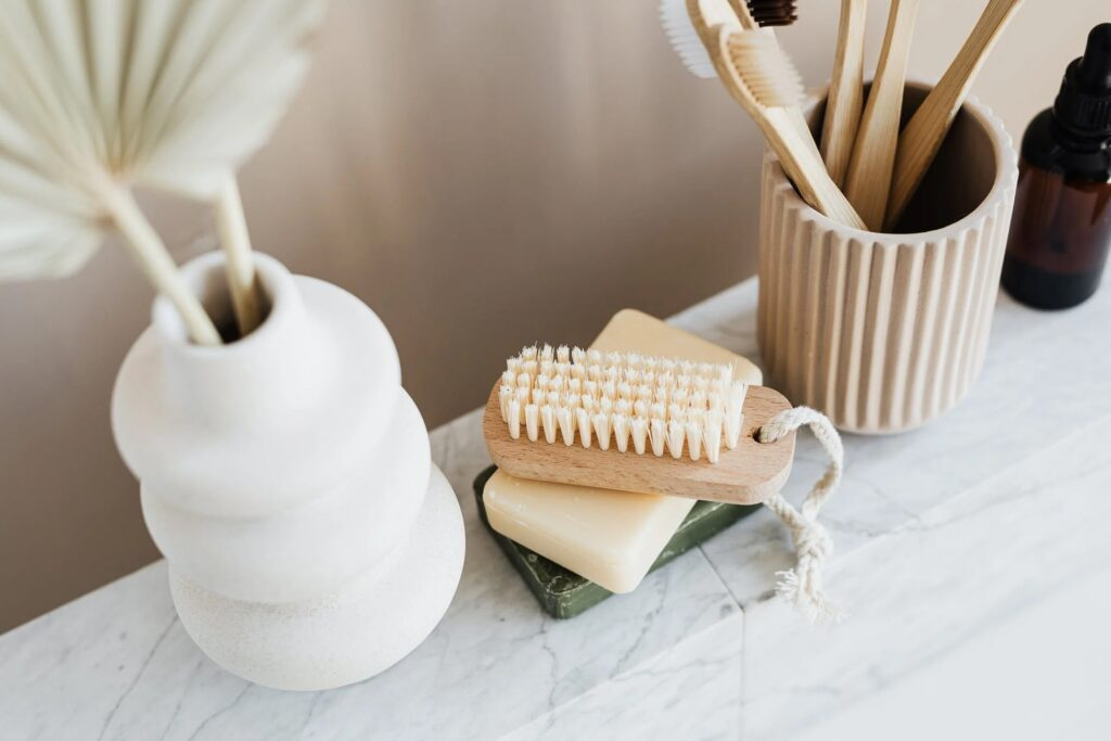 Sustainable products tooth brush, brush and soap