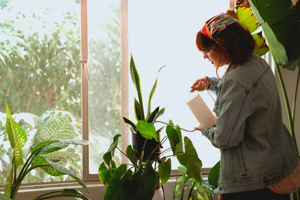 Woman pouring water on plants in her bedroom